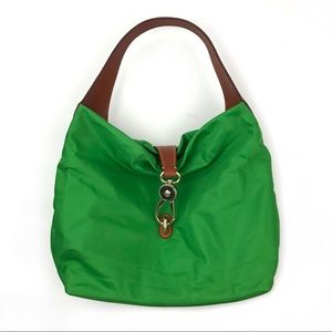 Dooney and Bourke Green Logo Lock Shoulder Tote